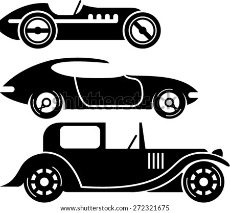 Vintage retro car racing coupe and limo simple vector - stock vector