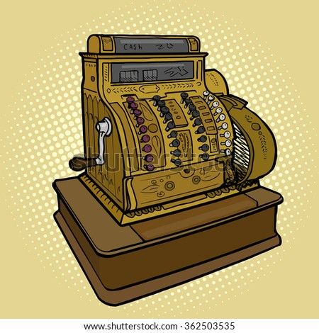 Vintage retro cash machine pop art style vector illustration. Comic book style imitation - stock vector