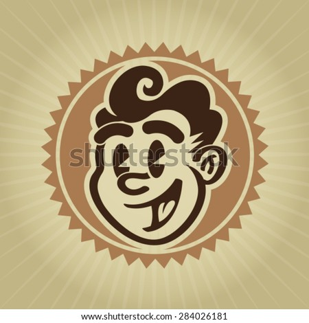Vintage Retro Character Face Seal - stock vector