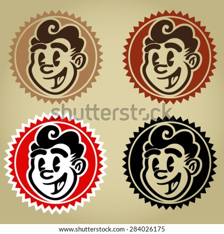 Vintage Retro Character Face Seals - stock vector