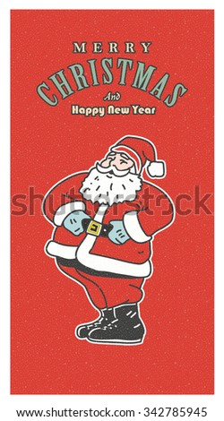 Vintage retro Christmas card. Old-fashioned Santa Claus smiling on the red background - stock vector