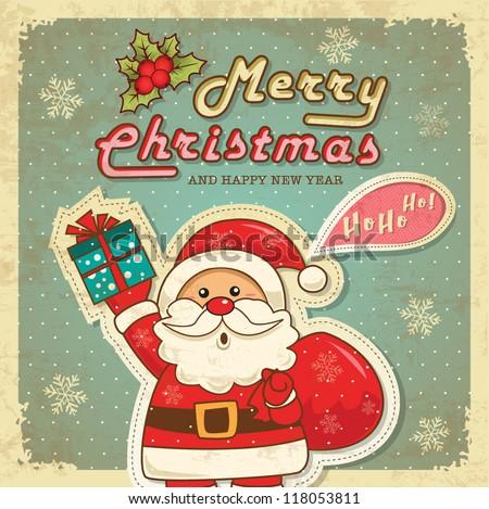 Vintage retro christmas card with cute santa claus - stock vector