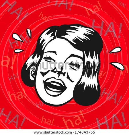 Vintage Retro Clipart: woman having fun and laughing - stock vector