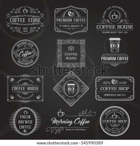 Vintage Retro Coffee Labels and Badges set. Typographic Background With Chalk Word Art On Blackboard. Vector Illustration