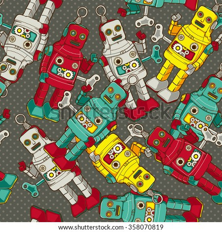 Vintage / Retro colorful Robot seamless  pattern, vector illustration  - stock vector