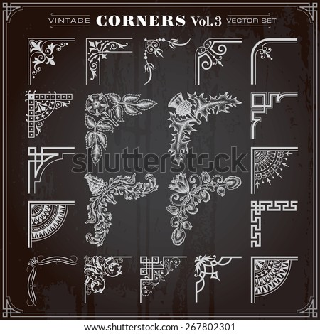 Vintage Retro Design Elements Corners And Borders Set 3 Vector - stock vector