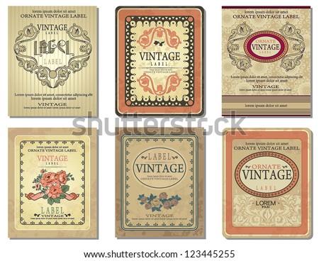Vintage Retro design label. Sticker template of decoration vector illustration tags. - stock vector