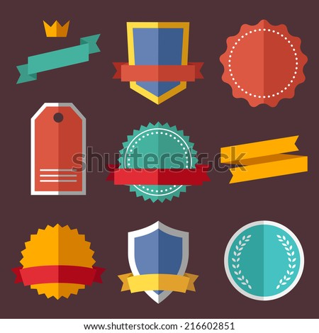 Vintage, retro flat badges, labels - stock vector