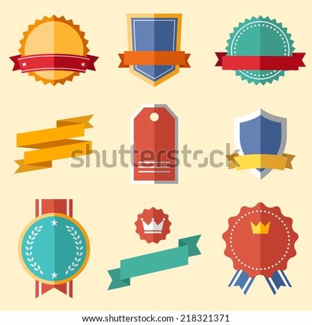 Vintage, retro flat badges, labels - stock vector