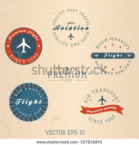 Vintage retro flight badge. Vector - stock vector