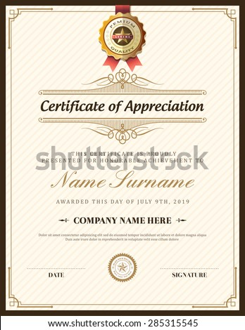 Vintage retro frame certificate background design template - stock vector