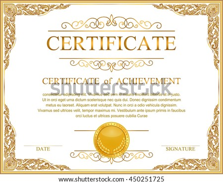 Vintage retro frame certificate background design template, gold detailed certificate