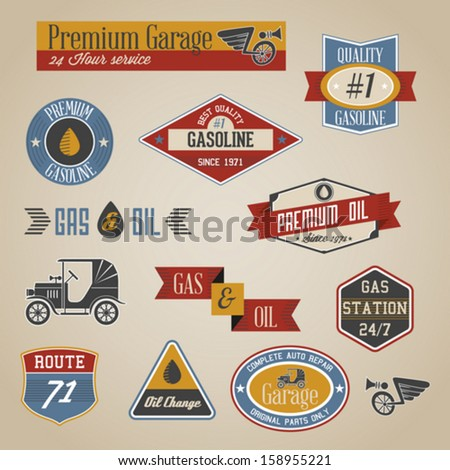 Vintage retro gasoline signs and labels collection - stock vector