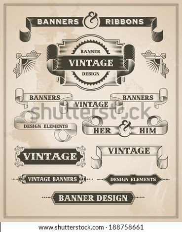 Vintage retro hand drawn banner set - vector illustration with texture added - stock vector