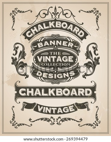 Vintage retro hand drawn banner set - vector illustration with texture added. Label design with ribbons and scrolls. - stock vector