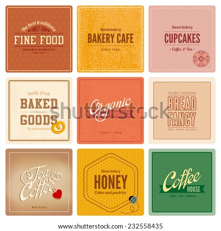 Vintage retro Labels Cafe Restaurant Bar Bakery Logo design vector templates. Coffee, Tea, Bakery, Organic food, cupcakes, Bread badges icons. - stock vector