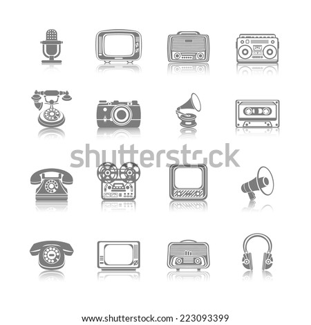 Vintage retro media gadgets black icons set of tape recorder gramophone megaphone isolated vector illustration - stock vector