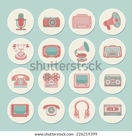 Vintage retro media gadgets icons set of radio camera tv isolated vector illustration - stock vector