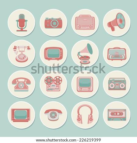 Vintage retro media gadgets icons set of radio camera tv isolated vector illustration - stock vector