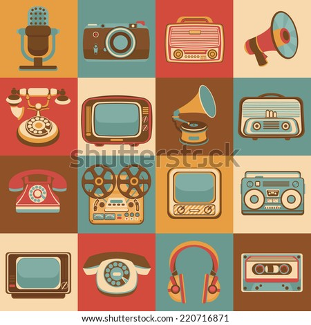 Vintage retro media gadgets icons set of radio microphone camera isolated vector illustration - stock vector