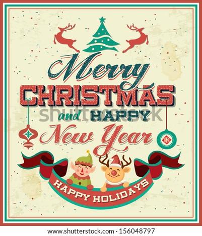 Vintage Retro Merry Christmas Poster Stock Vector 156048797 ...