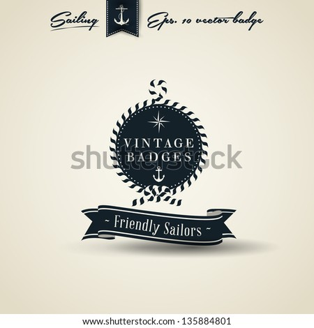 Vintage Retro Nautical Badge with Rope | Editable EPS 10 vector - stock vector