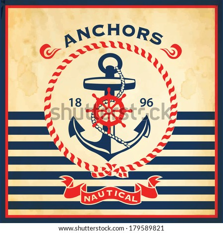 Vintage retro nautical poster - stock vector