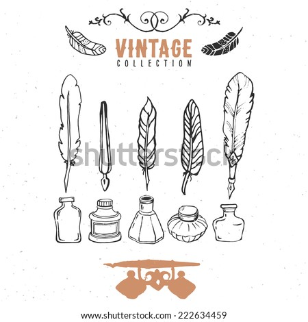 Vintage retro old nib pen feather ink collection. Hand drawn vector illustrations. Vol.8 - stock vector