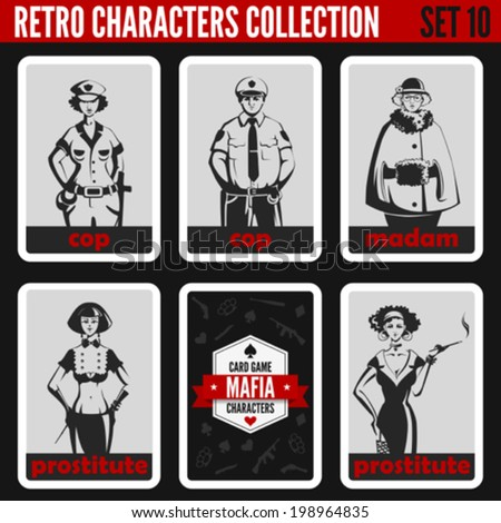 Vintage retro people collection. Mafia noir style. Madam, Prostitutes, Cops.  Professions silhouettes. - stock vector