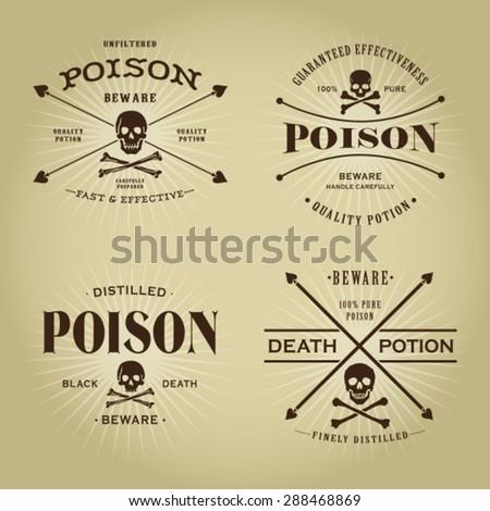 Vintage Retro Poison Seals Set - stock vector