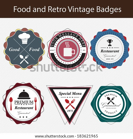 Vintage retro restaurant badges and labels - stock vector