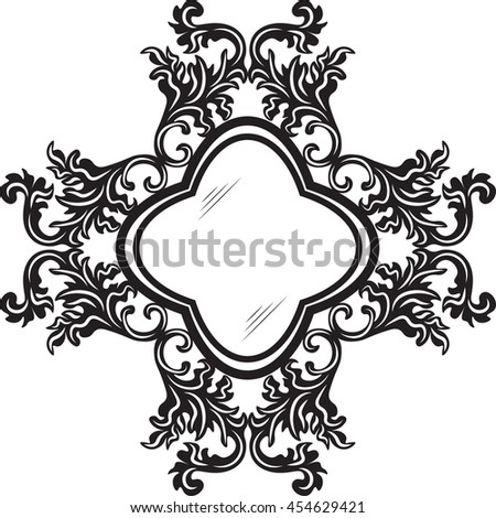 Vintage Retro Round Vector frames. Rich carved ornaments. Black and white decorated work-frame - stock vector