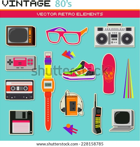 Vintage retro 80's vector elements collection - stock vector