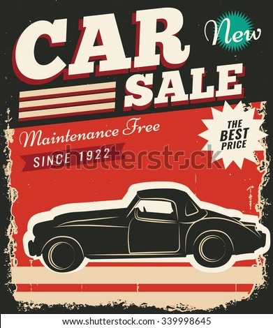 Vintage retro stile. Sale car vector flyer template. You can use it for grange background, banner, label. - stock vector