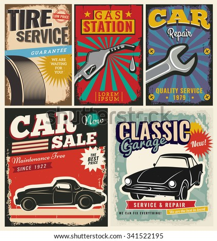 Vintage Retro Style Set Vector Cars Stock Vector