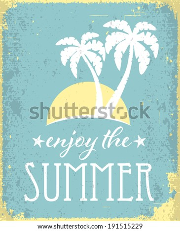 Vintage retro summer poster. Holiday and travel concept