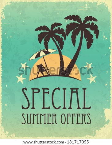 Vintage retro summer poster. Travel and offers concept. - stock vector