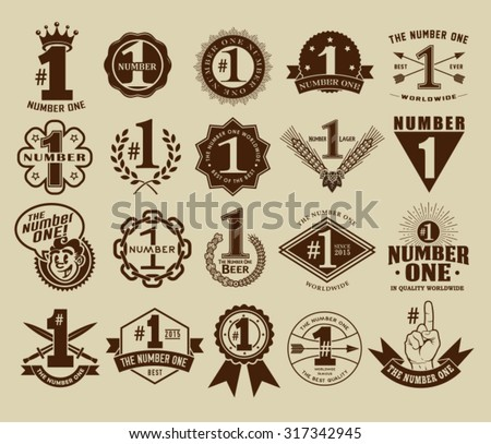 Vintage Retro The Number One # 1 Seals and Badges Collection - stock vector