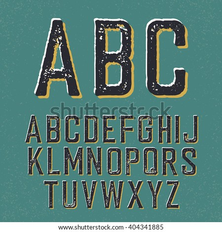 Vintage retro typeface. Stamped alphabet, with shadow - stock vector