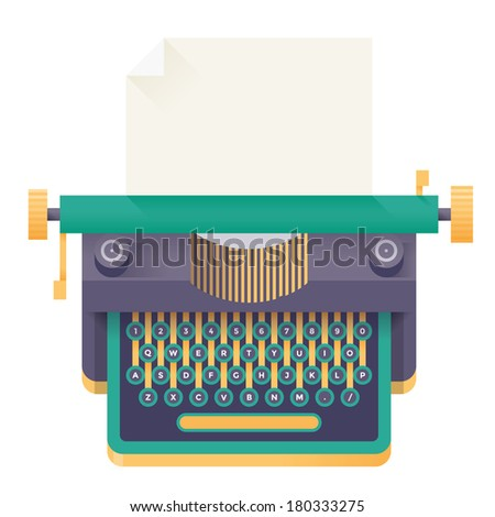 Vintage retro typewriter with blank page and copy space for your text