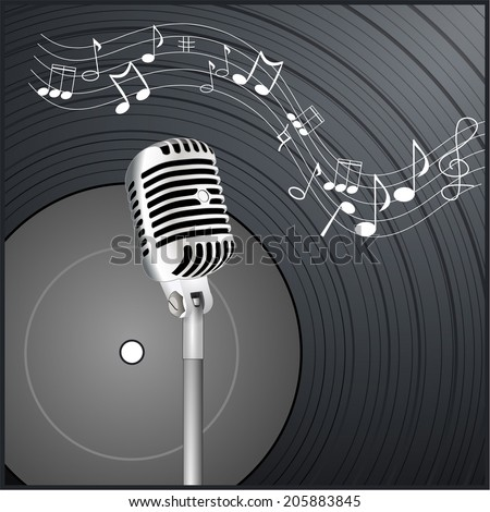 Vintage retro vinyl record background with microphone and wavy notes - vector art image illustration poster. music wallpaper, black and white drawn design eps10 - stock vector
