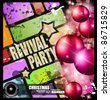 Vintage revival party flyer for Christmas disco music event. - stock photo