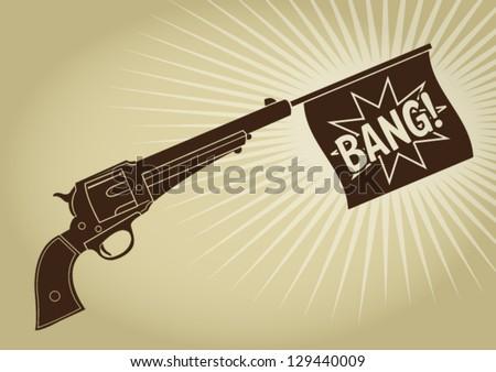 Vintage Revolver Bang Silhouette - stock vector