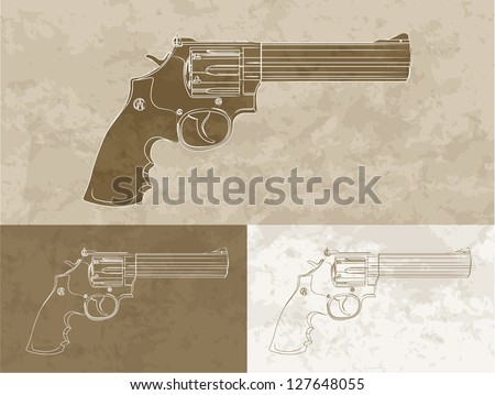 Vintage revolver (3 variation) - stock vector