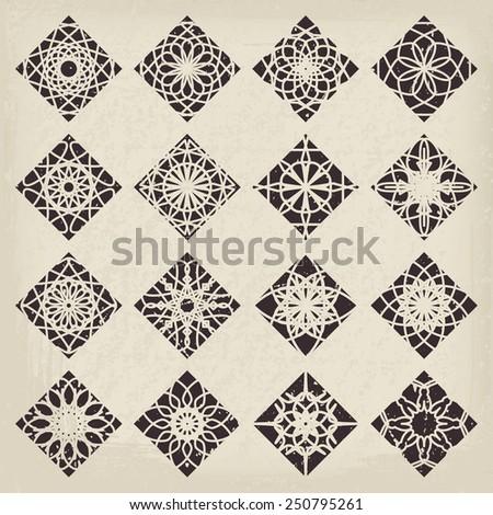Vintage rhombic ornament set. Vector symbols collection - stock vector