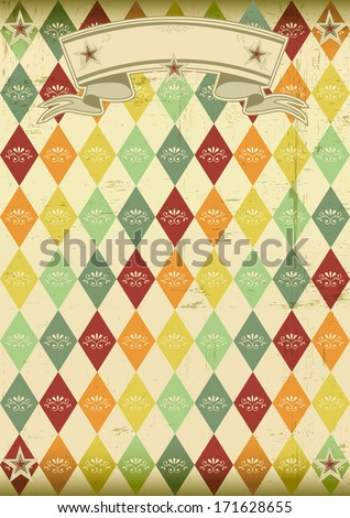 vintage rhombus pattern poster. An old poster for your party - stock vector