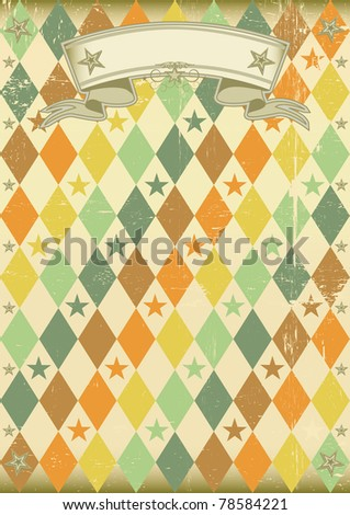 vintage rhombus pattern poster An old poster for your party - stock vector