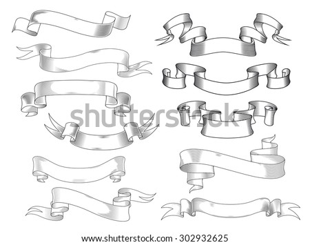 Vintage ribbon banners and scrolls with forked and curved ends in engraving style, isolated on white - stock vector