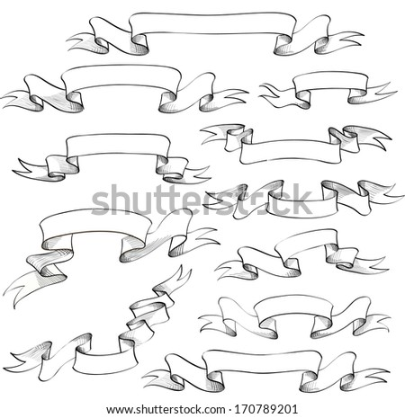 Vintage ribbon banners, hand drawn set for scrapbook and design in vector  - stock vector