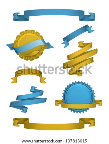 Vintage ribbons and labels, vector - stock vector